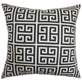 Paros Greek Key Euro Sham Black White