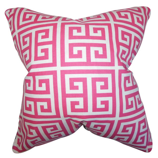 Paros Greek Key Euro Sham Candy Pink