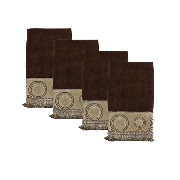 Sherry Kline Encircle Brown Hand Embellished Towel (set of 4)