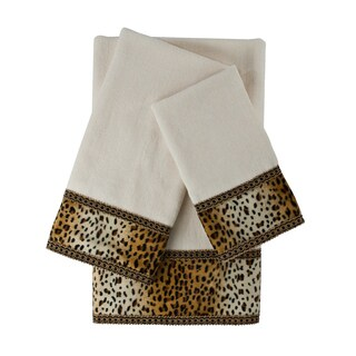Sherry Kline Panthera Ecru 3-piece Embellished Towel Set