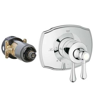 Grohe Authentic 2-Handle GrohFlex Universal Rough-In Box Dual Function Pressure Balance Valve Kit in Chrome