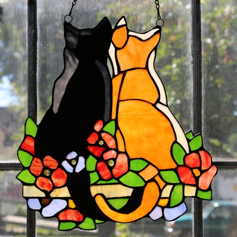 River of Goods 'Cats in the Garden' Multicolor Hand-cut Stained Glass Cabochon-accented 12.5-inch High Window Panel - S
