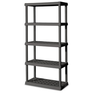 Sterilite 01558501 Grey Heavy Duty Plastic 5-Shelf Shelving Unit