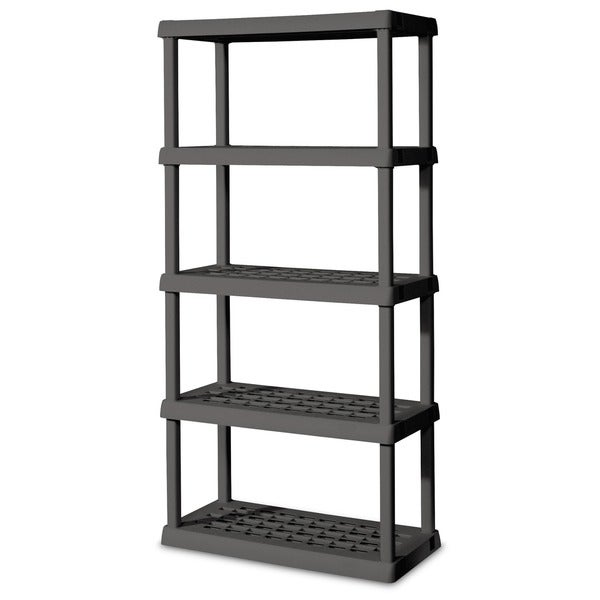 shop sterilite 01558501 grey heavy duty plastic 5 shelf shelving unit free shipping today. Black Bedroom Furniture Sets. Home Design Ideas