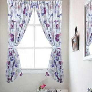 Violet Floral Print Fabric 34 x 54 Bathroom Window Curtain Panel Pair (Set of 2)