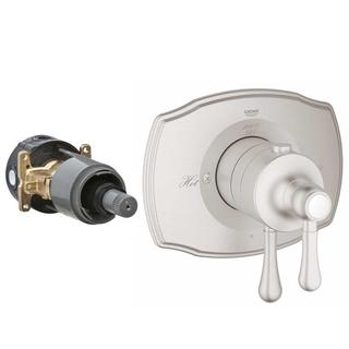 Grohe Authentic 2-Handle GrohFlex Universal Rough-In Box Single Function Thermostatic Kit in Brushed Nickel