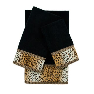 Sherry Kline Panthera Black 3-piece Embellished Towel Set