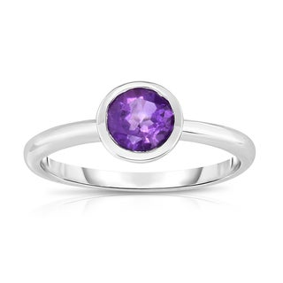 Noray Designs 14K White Gold 3/4ct Bezel-set Amethyst Ring