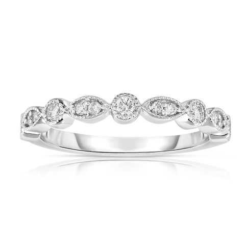 Noray Designs 14K White Gold Diamond Stackable Milligrain Ring