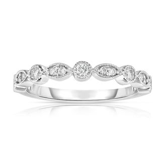 Noray Designs 14K White Gold Diamond Stackable Milligrain Ring (More options available)