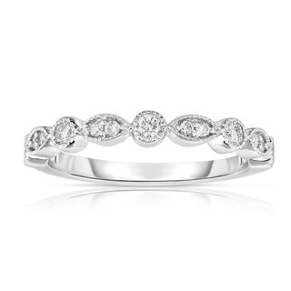Noray Designs 14K White Gold Diamond Stackable Milligrain Ring
