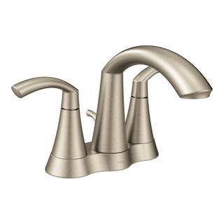MOEN Glyde 4 in. Centerset 2-Handle High-Arc Bathroom Faucet in Brushed Nickel