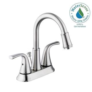 Schon Focus 4 in. Centerset 2-Handle LED High-Arc Bathroom Faucet in Brushed Nickel