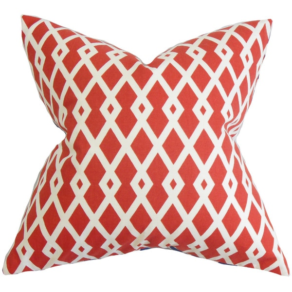 Tova Geometric Euro Sham Red