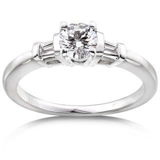 Annello by Kobelli 14k White Gold Certified 3/4ct TDW Round & Baguette 3-Stone Eco-Friendly Lab Grow