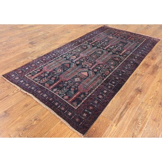 Oriental Persian Multicolored Wool Hand-knotted Rug (4'4 x 8'5)