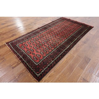 Hand-knotted Oriental Persian Bokhara Red Wool on Wool Rug (4'1 x 7'8)