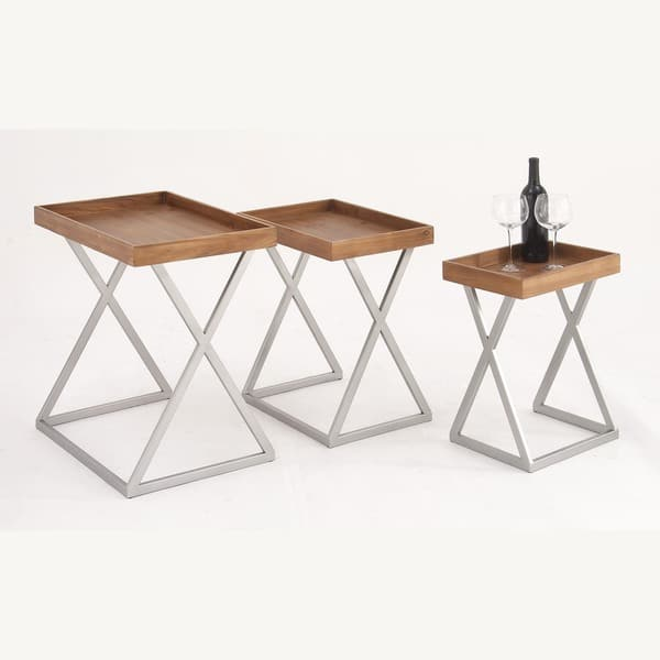 Astonishing Urban Designs Rustic Wood Tray Nesting Accent Tables Set Of 3 Home Interior And Landscaping Ologienasavecom