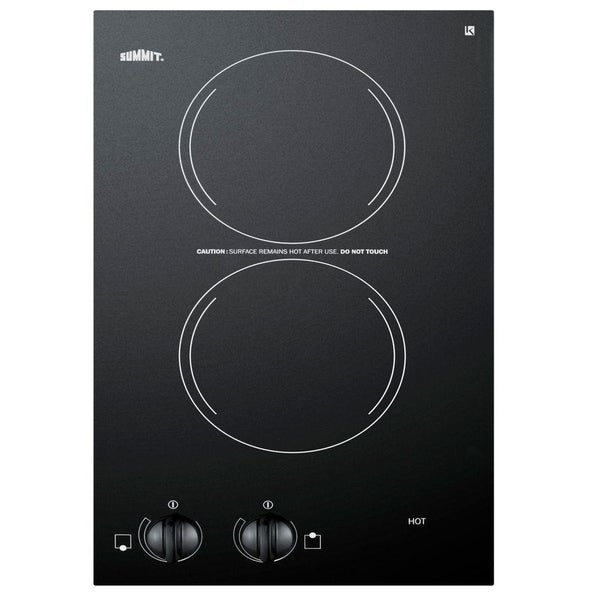 Summit CR2220 Ceramic Glass and Stainless Steel 12-inch Smooth-top Electric Cooktop