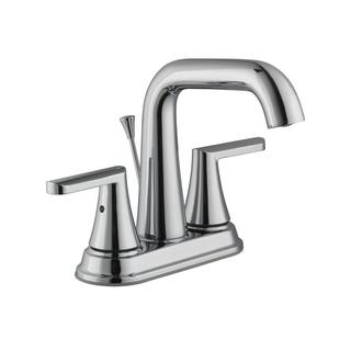 Schon Jax 4 in. Centerset 2-Handle High-Arc Bathroom Faucet with Pop-Up Assembly in Chrome