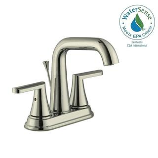 Schon Jax 4 in. Centerset 2-Handle High-Arc Bathroom Faucet with Pop-Up Assembly in Polished Nickel