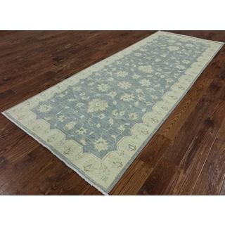 Peshawar Blue/Off-white Wool Hand-knotted Oriental Runner Rug (4'0 x 9'10)