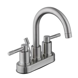 Schon Axel 4 in. Centerset 2-Handle High-Arc Bathroom Faucet with Pop-Up Assembly in Brushed Nickel
