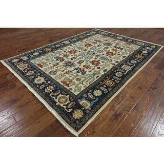 Serapi Ivory/Blue Wool Hand-knotted Oriental Rug (6'7 x 8'10)
