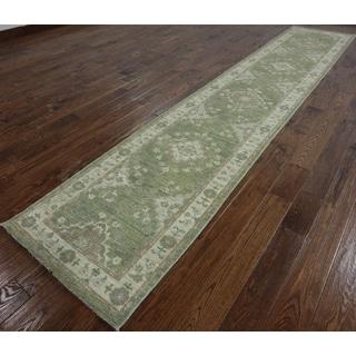 Oriental Peshawar Green Wool Runner (2'7 x 13'4)