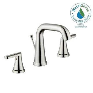 Schon Jax 8 in. Widespread 2-Handle High-Arc Bathroom Faucet in Polished Nickel