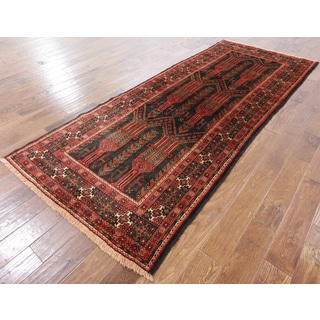 Persian Black/Multicolor Wool Hand-knotted Oriental Rug (3'10 x 9'5)