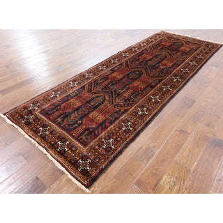 Oriental Persian Black Wool on Wool Hand-knotted Rug (3' 7 x 9' 10)