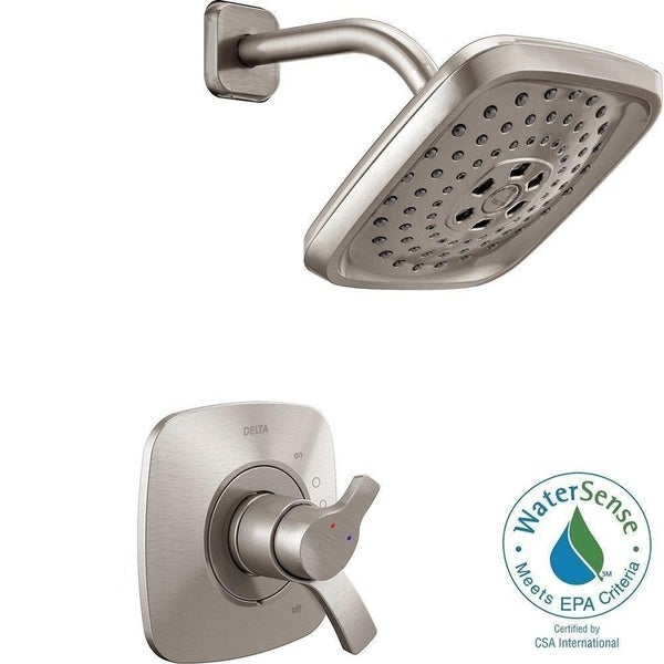 Delta Tesla H2Okinetic 1 Handle Shower Faucet Trim Kit In Stainless (Valve  Not Included