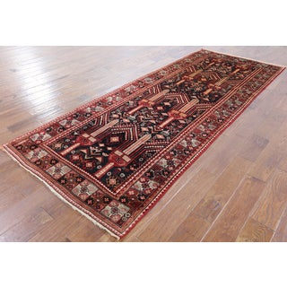 Oriental Persian Black Wool Hand-knotted Area Rug (3'10 x 9'9)