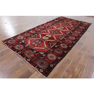 Oriental Persian Red Wool Hand-knotted Rug (5'1 x 10'6)