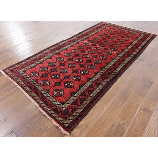 Red Wool on Wool Hand-knotted Oriental Persian Rug (4'3 x 8'8)