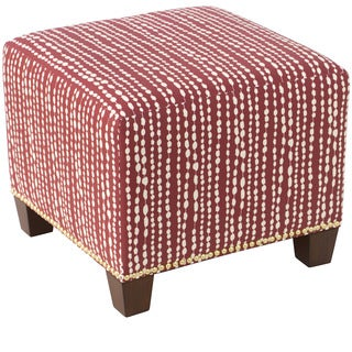 Skyline Furniture Nail Button Ottoman in Line Dot Holiday Red
