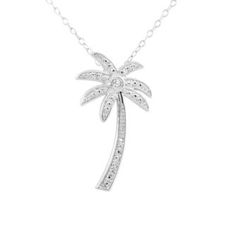 Gold-plated/Silvertone/Rose Tone Sterling Silver Diamond Accent Palm Tree Pendant Necklace