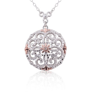 Two-tone Sterling Silver Diamond Accent 18-inch Flower Medallion Pendant Necklace