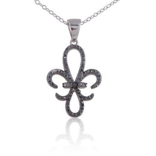 White/Black Sterling Silver Diamond Accent Fleur de Lis Pendant Necklace