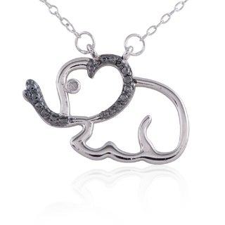 Silvertone/Black Sterling SilveDiamond Accent Elephant Pendant Necklace