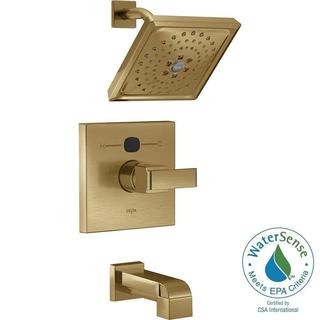 Delta Temp2O Angular Modern 1-Handle Tub and Shower Faucet Trim Kit in Champagne Bronze (Valve Not Included)