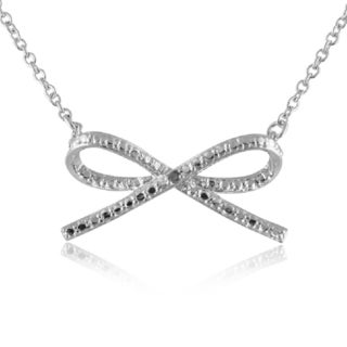 Sterling Silver Diamond Accent Bow Tie Pendant 18-inch Necklace
