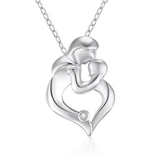 Sterling Silver Diamond Accent 18-inch Mother and Child Pendant Necklace