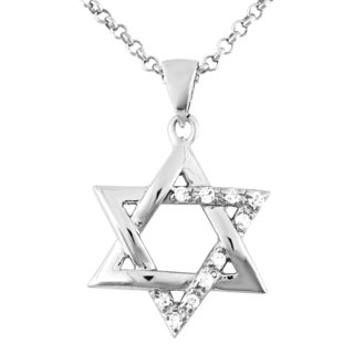 Rhodium-plated Sterling Silver Cubic Zirconia 18-inch Judaic Star of David Pendant Necklace