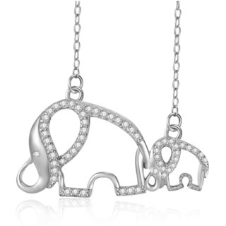Women's Sterling Silver Cubic Zirconia 18-inch Mother and Child Elephant Chain Necklace
