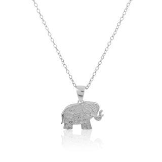 Sterling Silver Cubic Zirconia Elephant Swirl Design Pendant Necklace