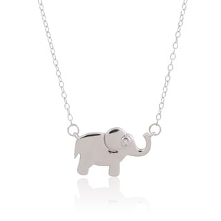 Women's Sterling Silver Cubic Zirconia Small Elephant Chain Necklace