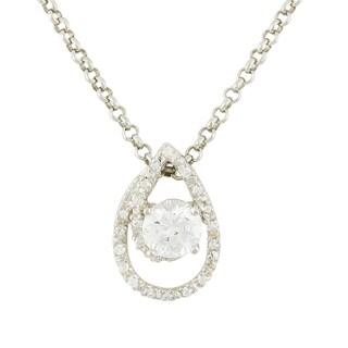 Women's Sterling Silver Cubic Zirconia 18-inch Teardrop-shape Pendant Necklace