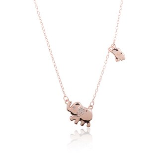 Sterling Silver Cubic Zirconia Mother and Child Elephant Chain Necklace, 18 Inch